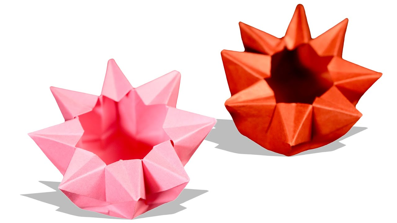 Origami bowl how to make a paper flower bowl origami for How to make a newspaper bowl