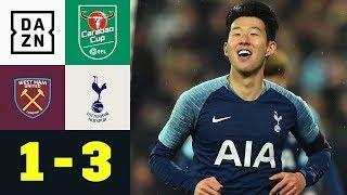 Heung-Min Son schnürt Doppelpack: West Ham - Tottenham 1:3 | Carabao Cup | DAZN Highlights