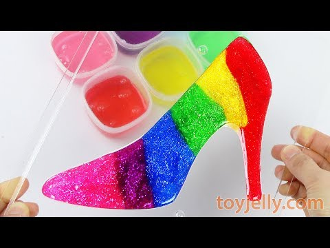 DIY Making Glitter Slime Clay High Heels Learn Colors Kinetic Sand Ice Cream Baby Milk Bottle Toys