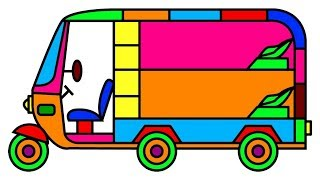 How to draw sleeping bus auto rickshaw tuk tuk coloring pages for kids, fun coloring book videos