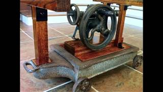 Antique Drill Press Coffee Table Display