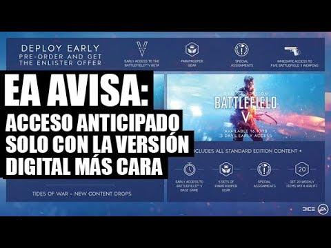 EA AVISA TRAS BATTLEFIELD V EL ACCESO ANTICIPADO SERÁ ÚNICAMENTE CON LA EDICIÓN DIGITAL MÁS CARA