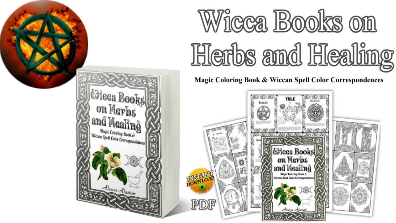 Wicca Books on Herbs and Healing Magic Coloring Book & Wiccan Spell Color  Correspondences