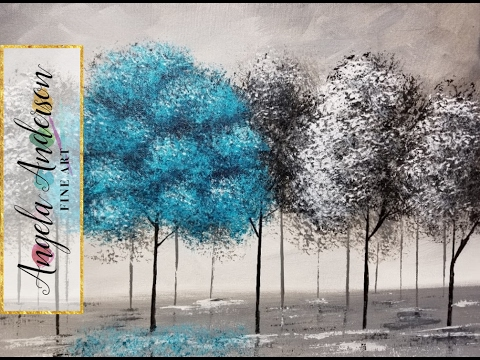 Pop of color black and white trees part 2 beginner acrylic painting purple turquoise or yellow