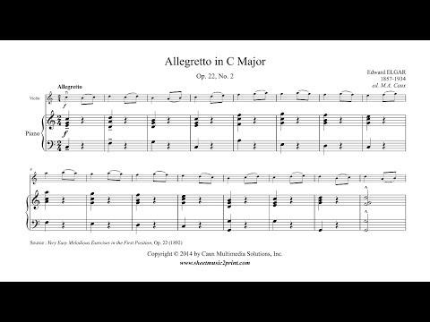 Elgar : Allegretto in C Major, Op. 22, No. 2 - Violin