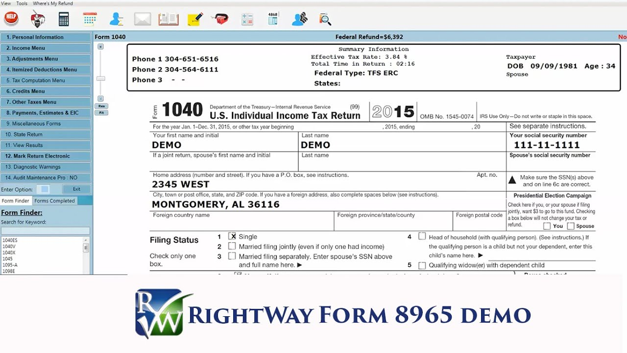 RightWay Form 8965 Demo - YouTube