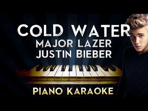 Major Lazer - Cold Water (ft.Justin Bieber & MØ)   LOWER Key Piano Karaoke Instrumental Lyrics