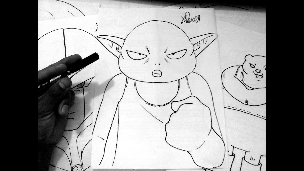 Dibujando A MONACA DEL EQUIPO DE BILLS DRAGON BALL SUPER