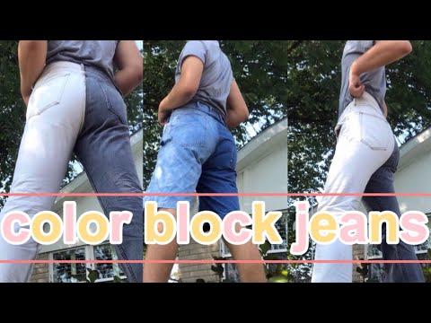 DIY DESIGNER COLOR BLOCK JEANS (bleach method)