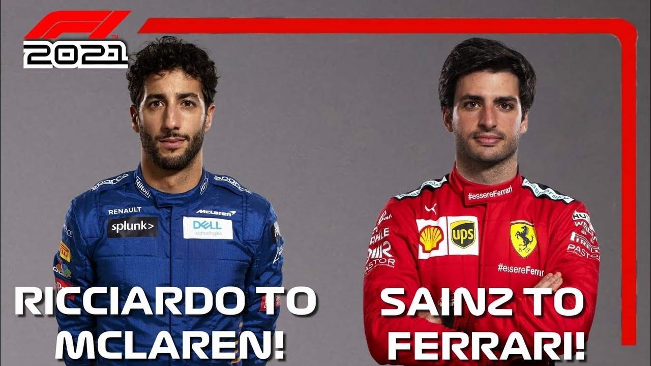 Carlos Sainz Joins Ferrari Daniel Riccardo Joins Mclaren For 2021 Youtube