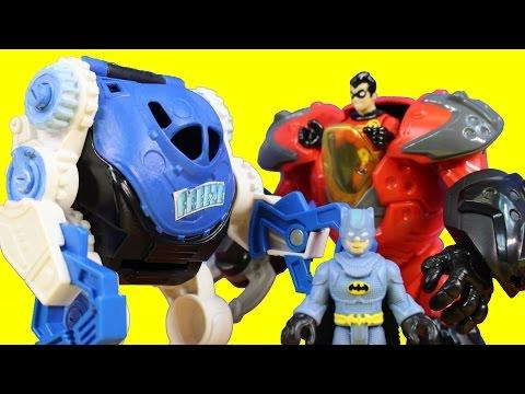 Imaginext Mr. Freeze & Clayface Battle Gotham City Police Batman Superman Cyborg Robin Robot