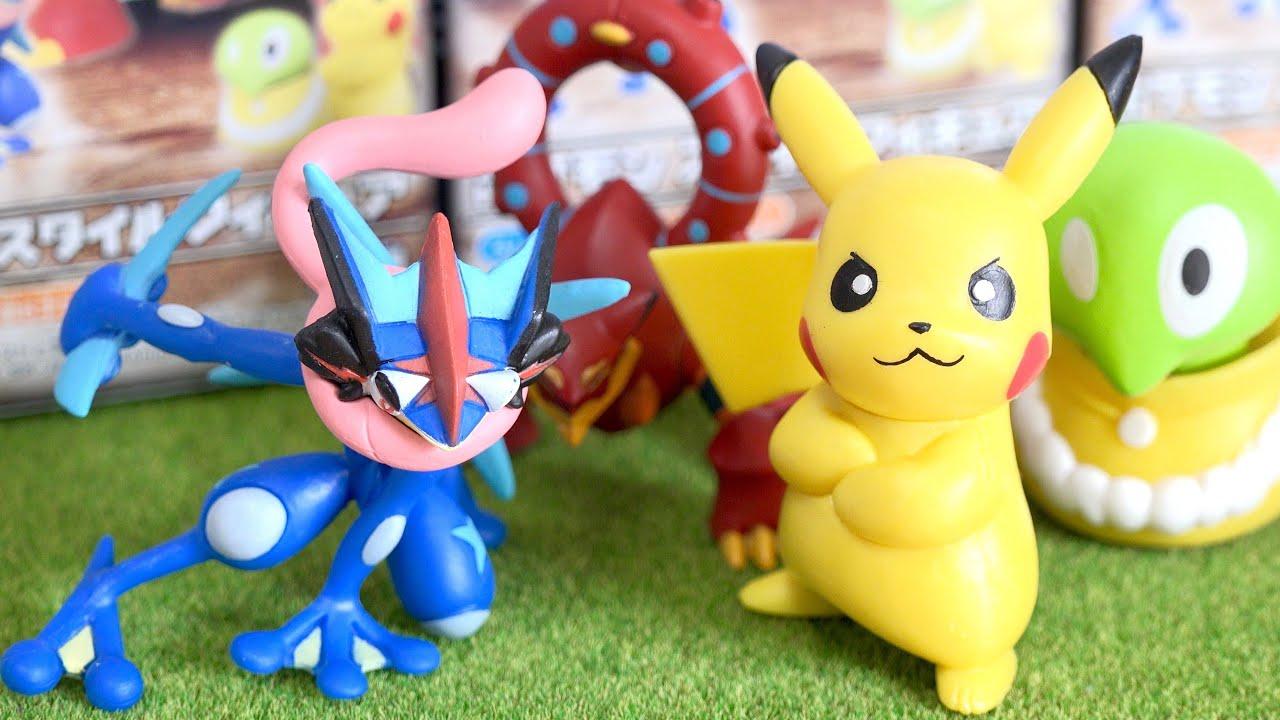 Squishy Pokemon Toys : Pokemon Style Figures - Ash-Greninja Volcanion Pikachu Squishy - YouTube