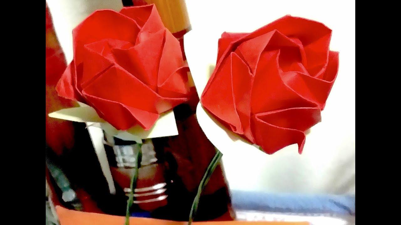 How to make Super Easy Origami Rose (Kawasaki Rose) - YouTube - photo#48