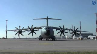 [HD] Airbus A400M Engine Start up at blue danube airport linz