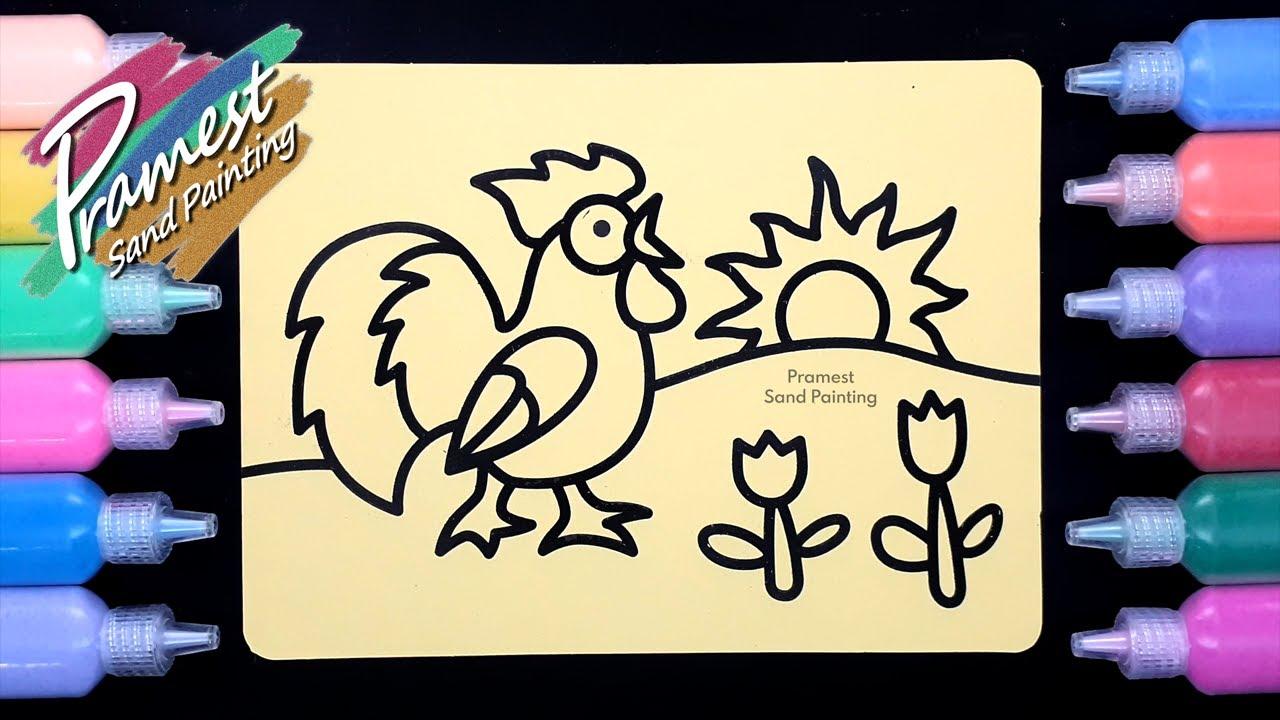 mewarnai gambar ayam jago dengan pasir warna untuk anak
