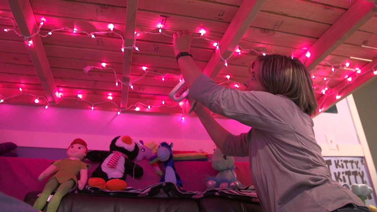 Purple christmas lights bedroom - How To Put Christmas Lights In A Girl S Room Getting Crafty Youtube