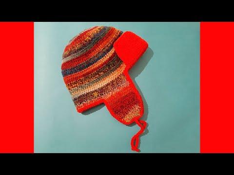 Видеоурок шапка ушанка крючком
