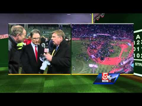 Boston Red Sox owner John Henry reacts to World Series victory