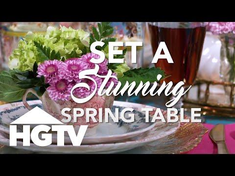 Vintage-Meets-Modern Spring Table Setting - HGTV - YouTube