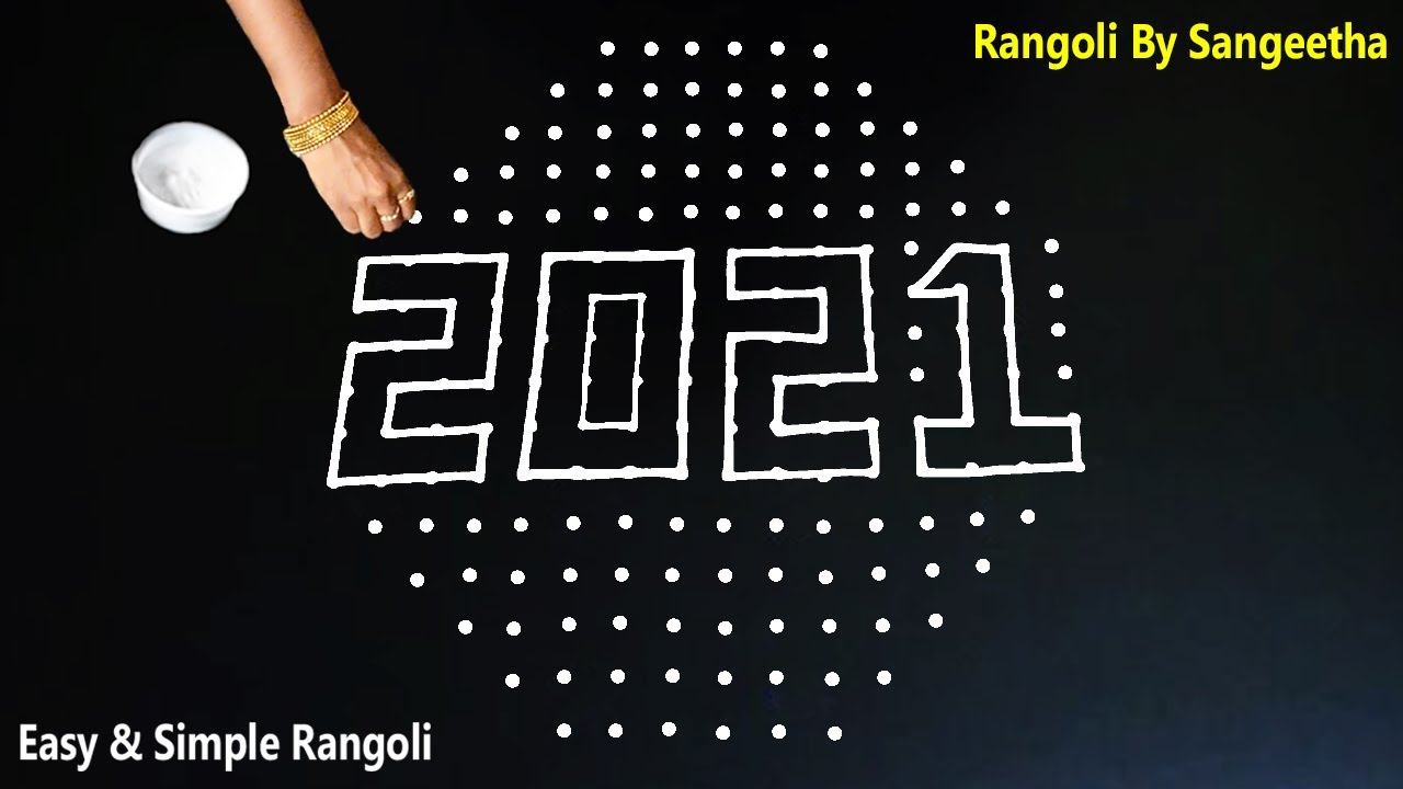 New Year Rangoli 2021 Designs   Happy New Year Kolam   New Year muggulu design   New year special