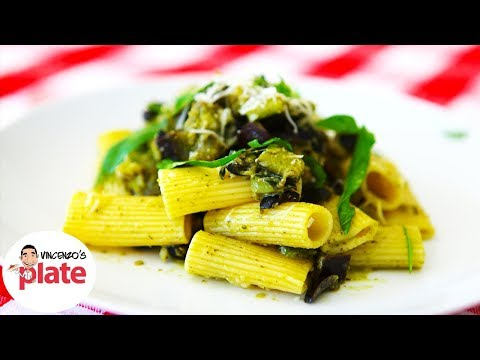 Vegetarian Pasta Recipe | With Eggplant Zucchini Olives and Pesto