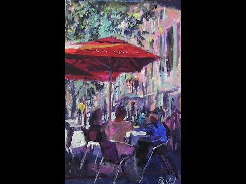 A Workshop for Axholme Art Group. Cafe scene using acrylics. 3 hrs.