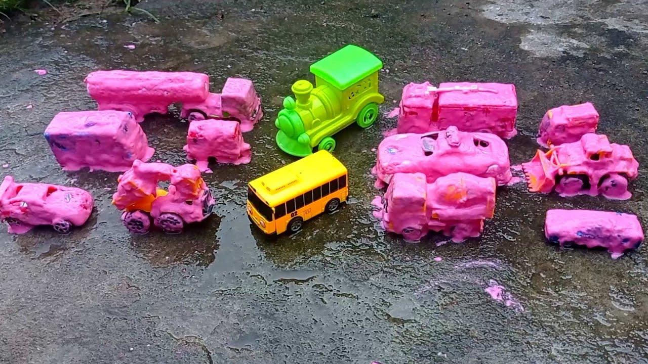 membersihkan mobil polisi tayo mobil balap excavator truk gandeng mobil pemadam kereta api part 21