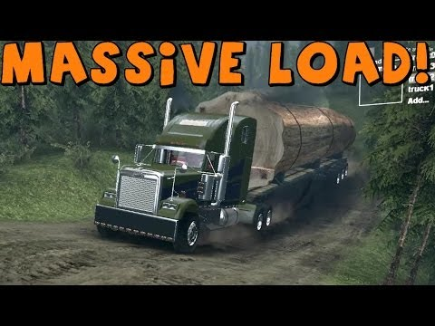 SpinTires | Freightliner Hauling Massive Tree Trunk | Ram 3500 Cummins Power Upgrade