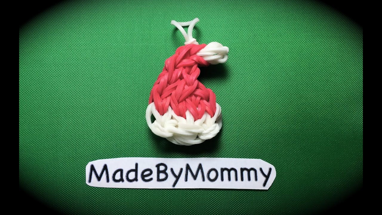 Made by Mommy's Santa Hat Charm on the Rainbow Loom - YouTube