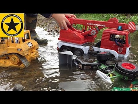 Bruder Toy Tractor Stuck In River Search And Rescue Fire