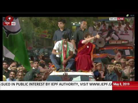 Janadesh 2019: Priyanka Gandhi holds roadshow in Delhi