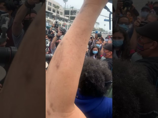 White supremacist chased off pier during Black Lives Matter protest in Huntington Beach