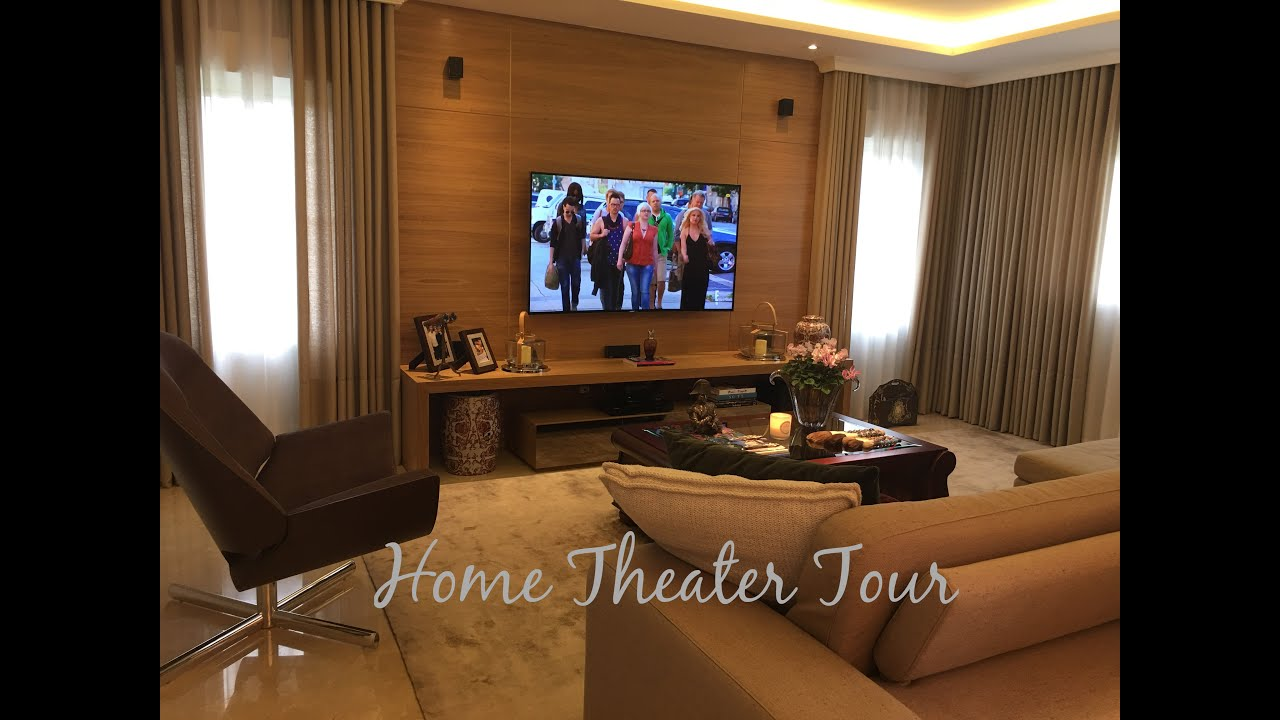 Tour pela sala de tv home theater tour dicas de m veis e decora o youtube - Sala home theatre ...