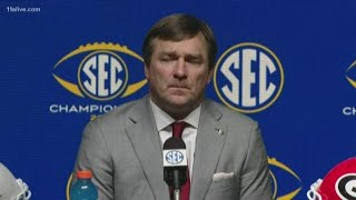 Georgia Bulldogs head coach Kirby Smart speaks about LSU Tigers at SEC Championship media conference