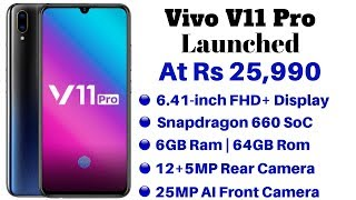 Vivo V11 Pro Launched in India With In-Display Fingerprint Sensor | Price, Specifications, Features
