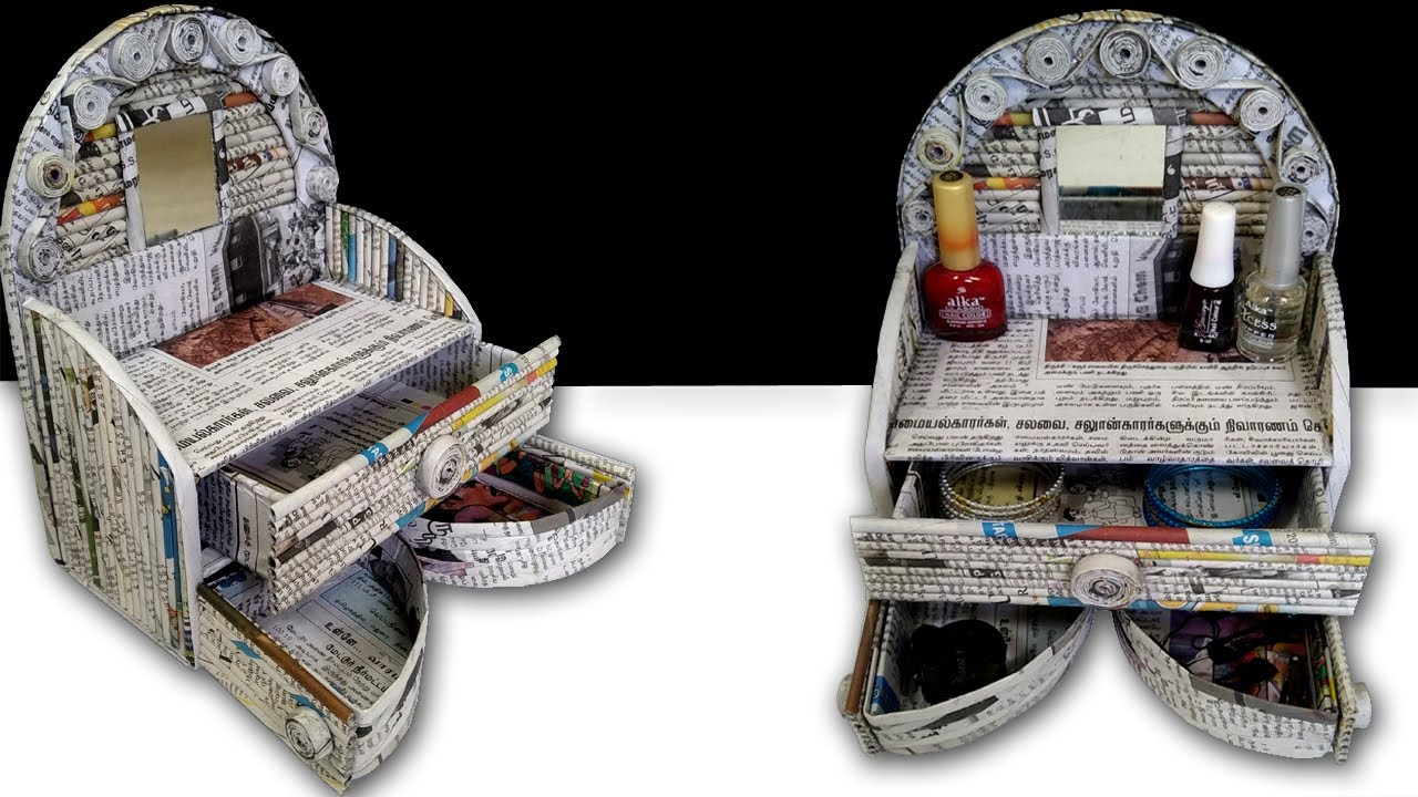 How to make Mini Dressing Table / Organizer Using Newspaper | Art and Crafts | All Type Videyos