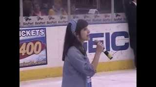 """Elizabeth Hughes, 13 years old, sings """"Roar"""" at Norfolk Admirals Hockey Game, Scope Arena"""