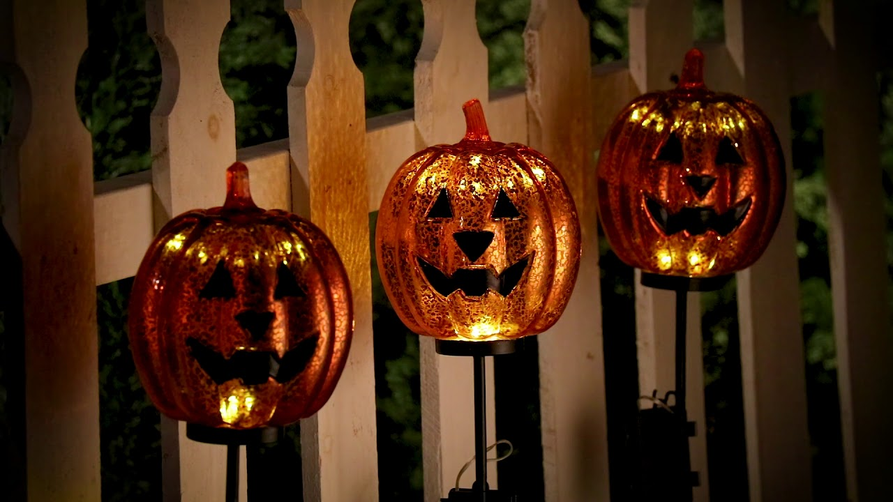 Lighted pumpkin yard stakes outdoor halloween decoration lighted pumpkin yard stakes outdoor halloween decoration improvements catalog workwithnaturefo