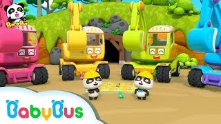 Baby Panda:  Digging Treasure with Excavators | Car Toys \u0026 Pretend Play | BabyBus