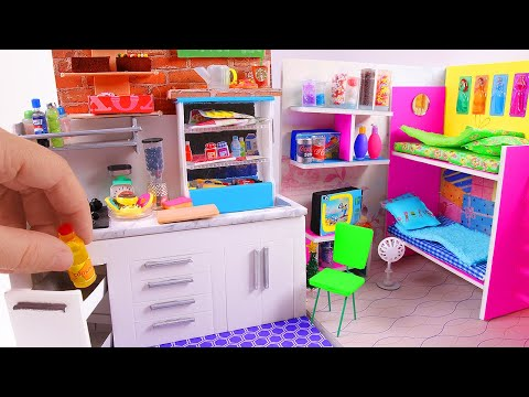 5 DIY Dollhouse Rooms ~ Kitchen, Bunk Bed, Grocery Store, etc.