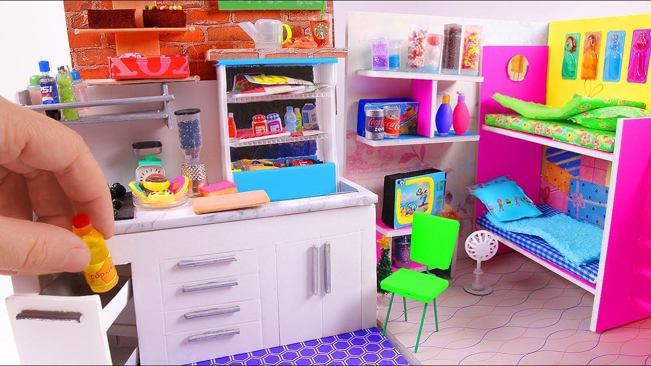 5 Diy Miniature Dollhouse Rooms Kitchen Bunk Bed