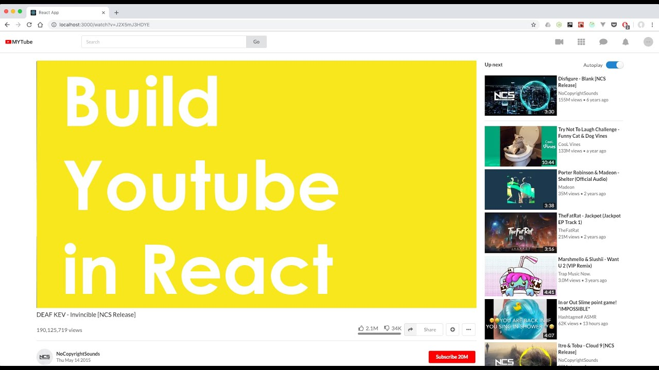 Build Youtube in React - finished project demo