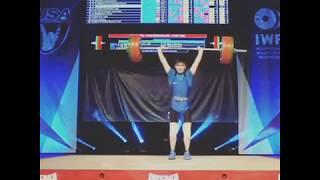 Чемпион мира среди юношей-2019 Акмолда Сайрамкез (КАЗ) Тяжелая атлетика в.к. до 61 кг