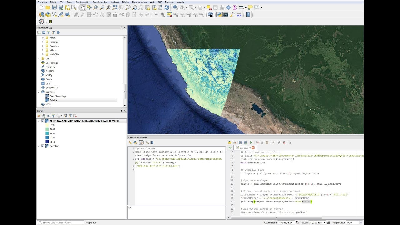 How to open HDF files on Sinusoidal Coordinate System in QGIS3 with PyQGIS  - Tutorial