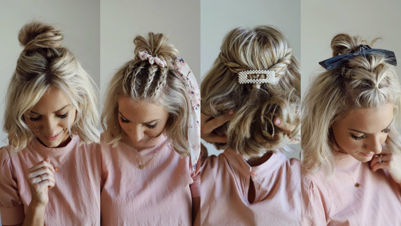 4 Half Up Styles For Short Hair W Hair Accessories Youtube