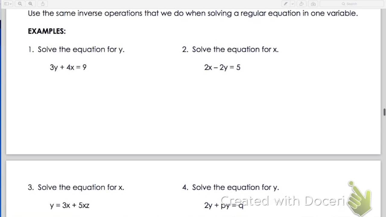 Literal Equations Examples With Answers Wwwtopsimagescom