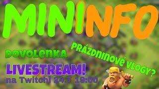 pp mininfo aktivita dovolenky vlogy livestream 24 7 19 00 coc