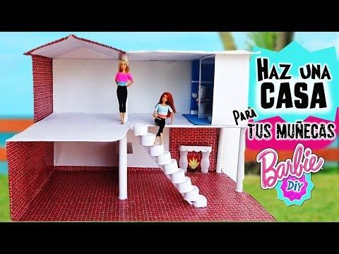 Como hacer CASA de MUÑECAS Barbie RECICLANDO 1Parte: Baño,Cocina,Escaleras, MANUALIDADES con MUÑECAS