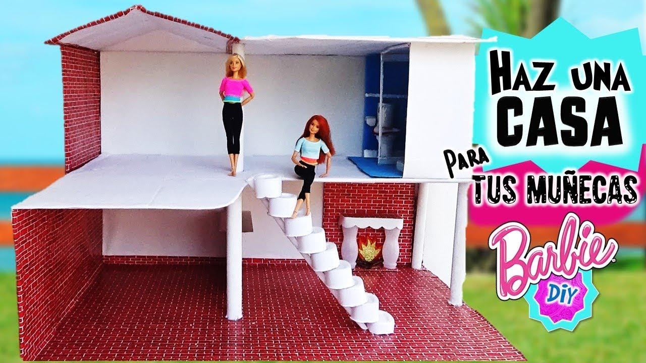 Como hacer casa de mu ecas barbie reciclando 1parte ba o cocina escaleras manualidades con Manualidades con materiales de casa