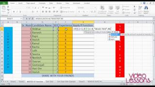 VIDEO LESSONS | NESTED IF FUNCTION | EXCEL TRICKS | IN YOUTUBE
